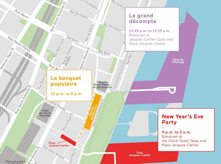Montreal New Years Eve Party Map